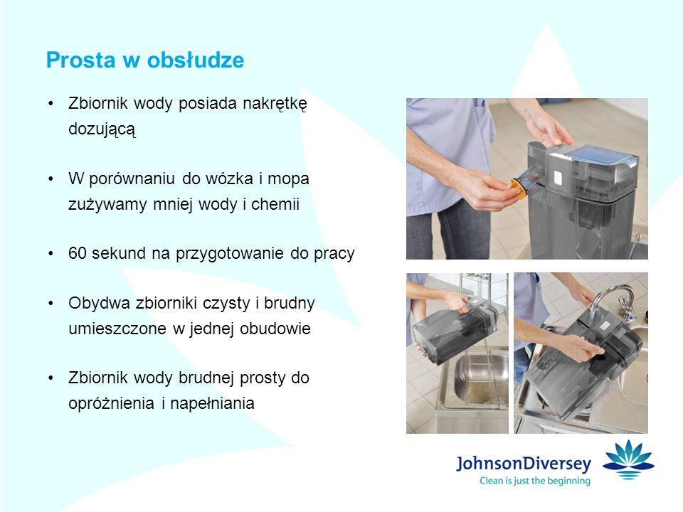 Prosta w obsłudze Zbiornik wody posiada nakrętkę dozującą W porównaniu do wózka i mopa zużywamy mniej wody i chemii 60 sekund na przygotowanie do prac