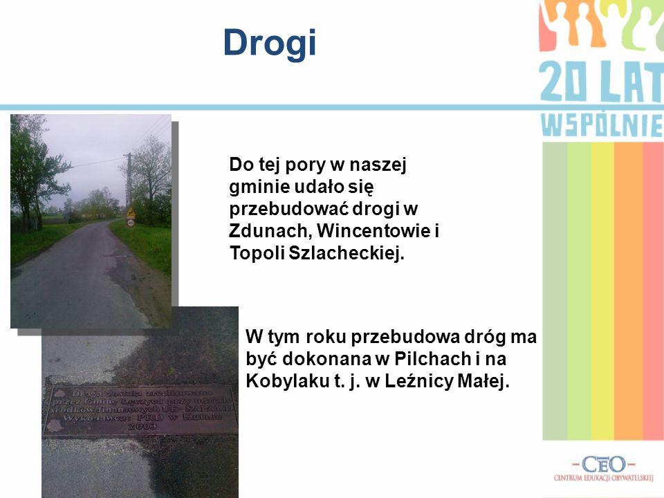 Drogi W tym roku przebudowa dróg ma być dokonana w Pilchach i na Kobylaku t. j. w Leźnicy Małej. Do tej pory w naszej gminie udało się przebudować dro