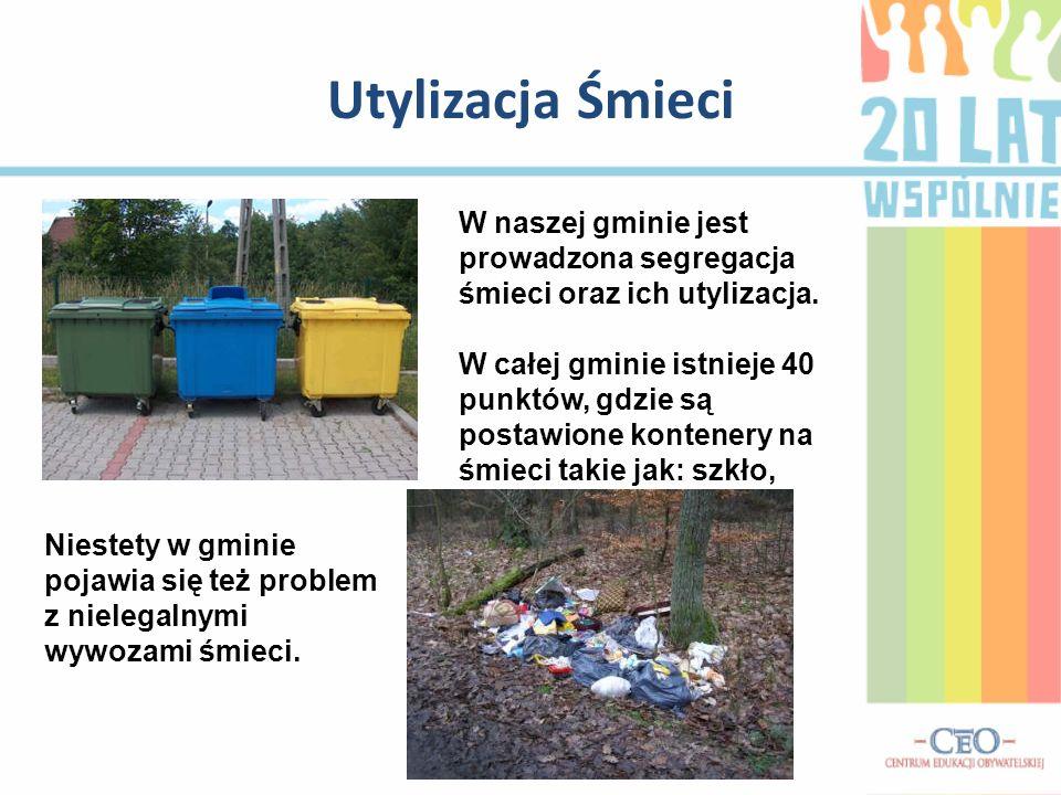 Utylizacja Śmieci W naszej gminie jest prowadzona segregacja śmieci oraz ich utylizacja. W całej gminie istnieje 40 punktów, gdzie są postawione konte