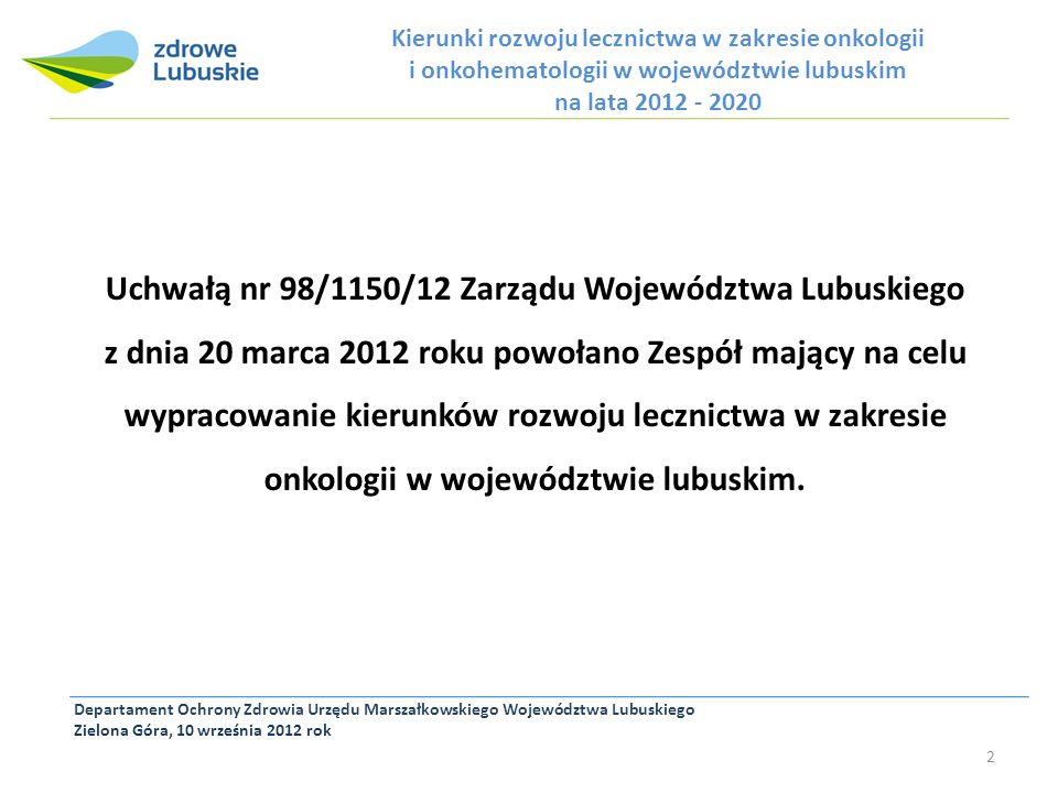 Kierunki rozwoju lecznictwa w zakresie onkologii i onkohematologii w województwie lubuskim na lata 2012 - 2020 Departament Ochrony Zdrowia Urzędu Mars