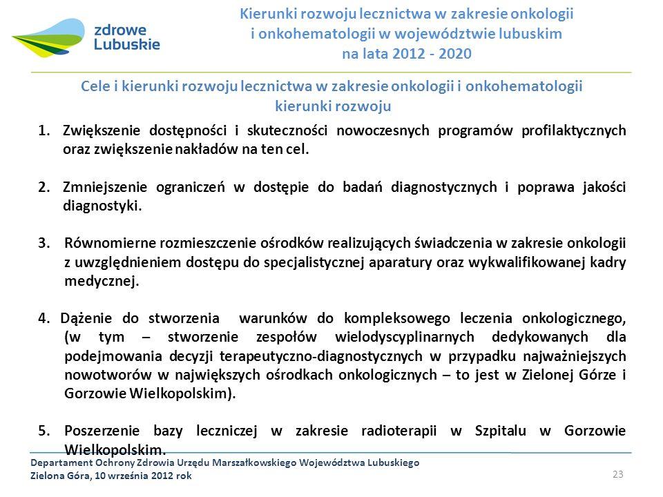 Departament Ochrony Zdrowia Urzędu Marszałkowskiego Województwa Lubuskiego Zielona Góra, 10 września 2012 rok 23 Cele i kierunki rozwoju lecznictwa w