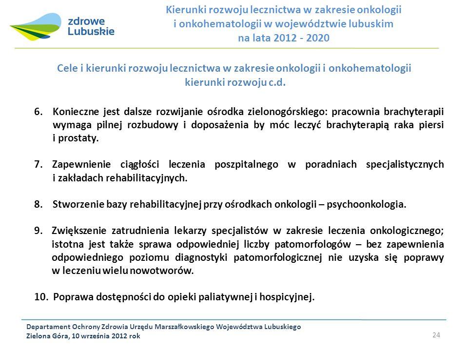 Departament Ochrony Zdrowia Urzędu Marszałkowskiego Województwa Lubuskiego Zielona Góra, 10 września 2012 rok 24 Cele i kierunki rozwoju lecznictwa w
