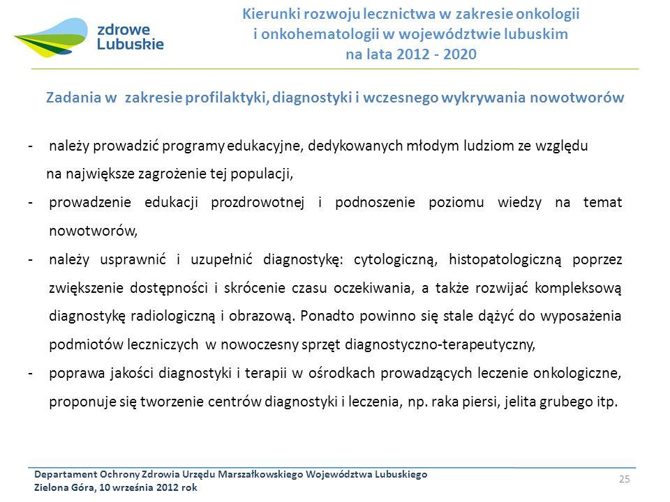Departament Ochrony Zdrowia Urzędu Marszałkowskiego Województwa Lubuskiego Zielona Góra, 10 września 2012 rok 25 Zadania w zakresie profilaktyki, diag