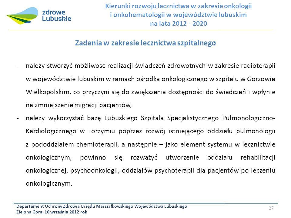 Departament Ochrony Zdrowia Urzędu Marszałkowskiego Województwa Lubuskiego Zielona Góra, 10 września 2012 rok 27 Zadania w zakresie lecznictwa szpital