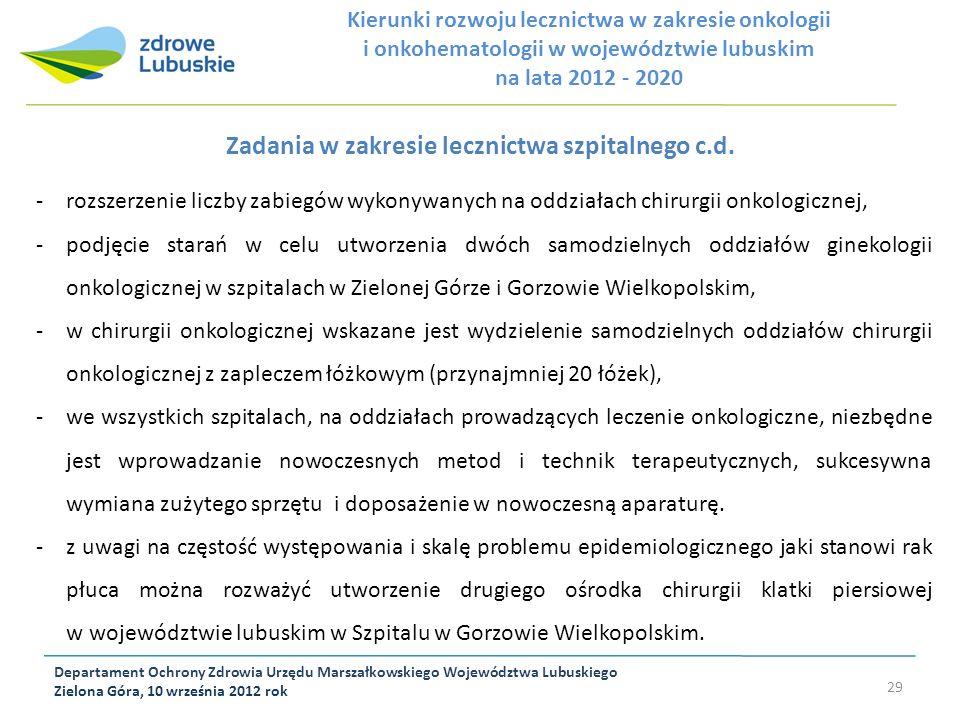 Departament Ochrony Zdrowia Urzędu Marszałkowskiego Województwa Lubuskiego Zielona Góra, 10 września 2012 rok 29 Zadania w zakresie lecznictwa szpital
