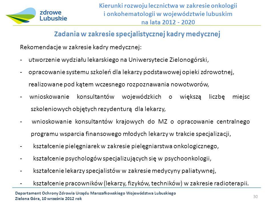Departament Ochrony Zdrowia Urzędu Marszałkowskiego Województwa Lubuskiego Zielona Góra, 10 września 2012 rok 30 Zadania w zakresie specjalistycznej k