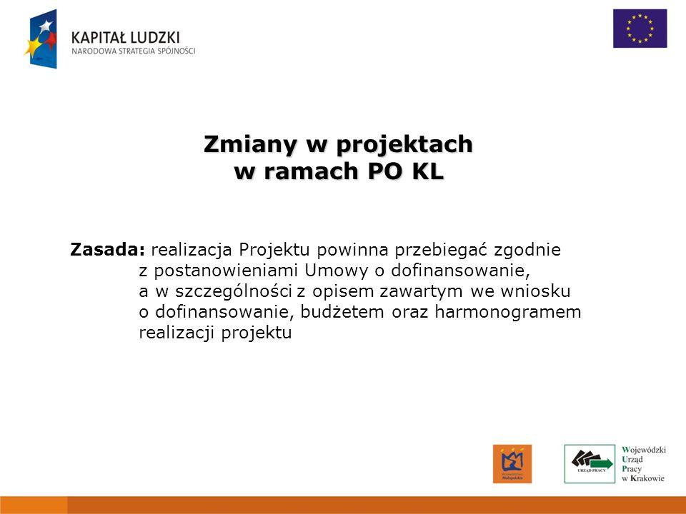 1 Zmiany w projektach w ramach PO KL Zasada: realizacja Projektu powinna przebiegać zgodnie z postanowieniami Umowy o dofinansowanie, a w szczególnośc