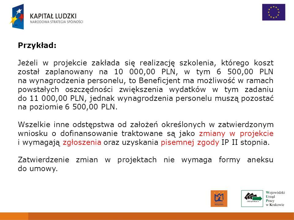 4 Przykład: Jeżeli w projekcie zakłada się realizację szkolenia, którego koszt został zaplanowany na 10 000,00 PLN, w tym 6 500,00 PLN na wynagrodzeni