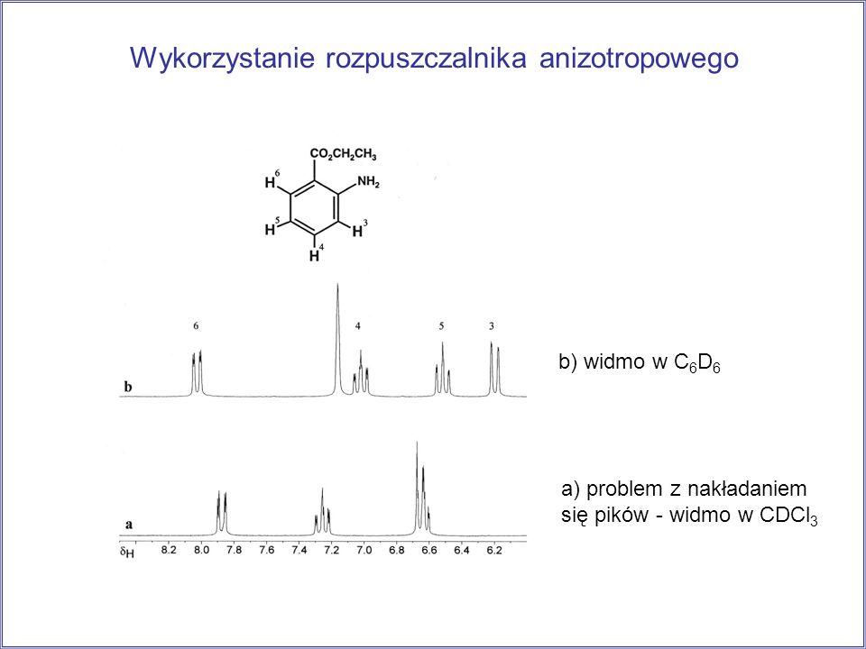 Wykorzystanie rozpuszczalnika anizotropowego a) problem z nakładaniem się pików - widmo w CDCl 3 b) widmo w C 6 D 6