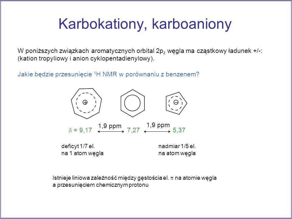 Karbokationy, karboaniony W poniższych związkach aromatycznych orbital 2p z węgla ma cząstkowy ładunek +/-: (kation tropyliowy i anion cyklopentadieny