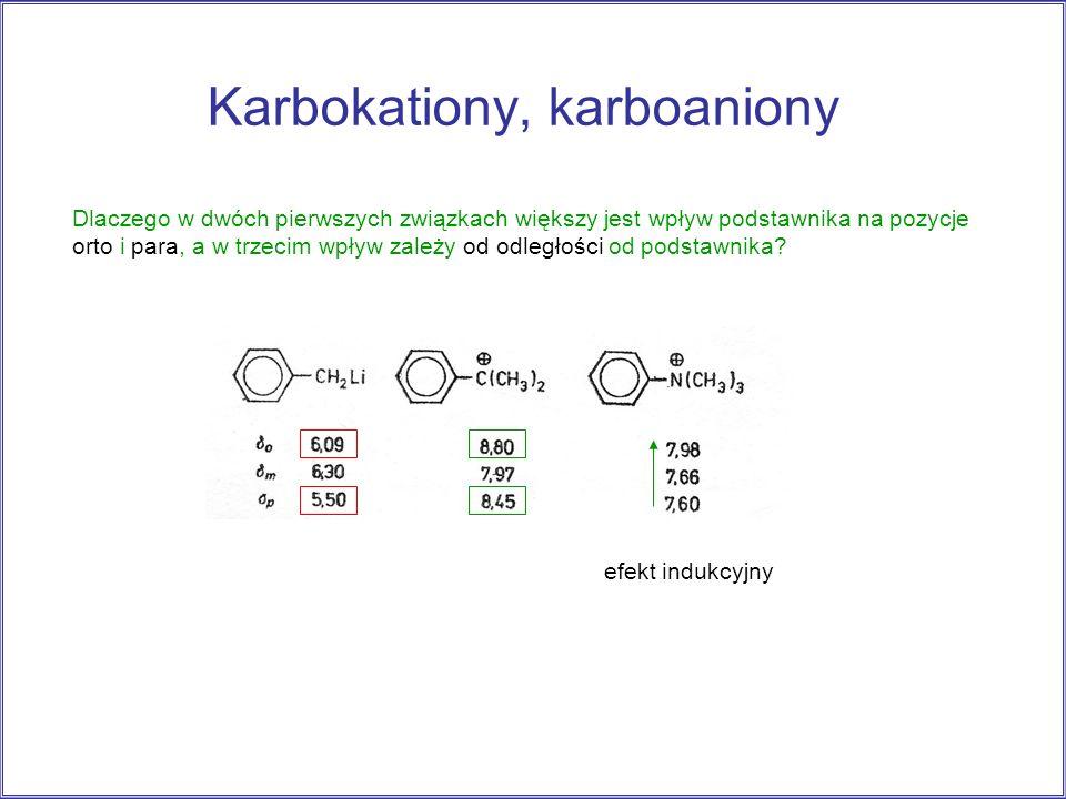Karbokationy, karboaniony efekt indukcyjny Dlaczego w dwóch pierwszych związkach większy jest wpływ podstawnika na pozycje orto i para, a w trzecim wp