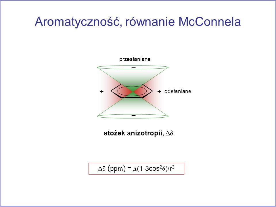 ++ _ _ stożek anizotropii, odsłaniane przesłaniane Aromatyczność, równanie McConnela (ppm) = (1-3cos 2 )/r 3