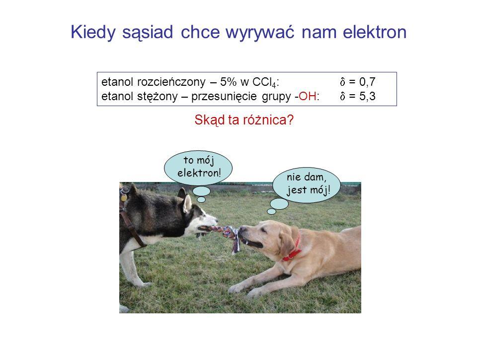 Kiedy sąsiad chce wyrywać nam elektron etanol rozcieńczony – 5% w CCl 4 : = 0,7 etanol stężony – przesunięcie grupy -OH: = 5,3 Skąd ta różnica? nie da
