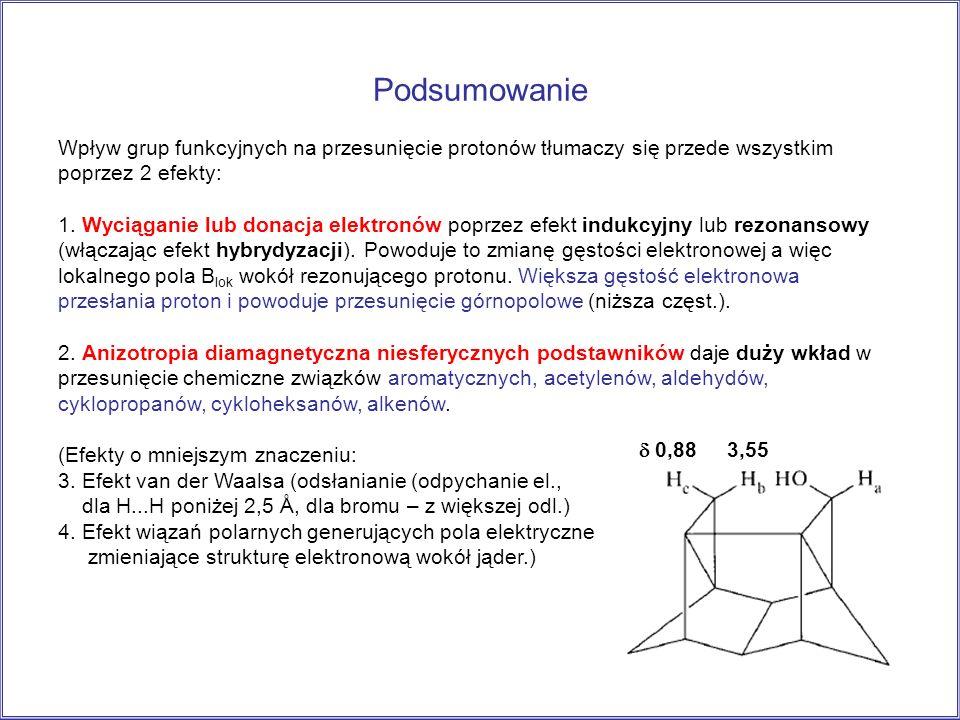 Podsumowanie Wpływ grup funkcyjnych na przesunięcie protonów tłumaczy się przede wszystkim poprzez 2 efekty: 1. Wyciąganie lub donacja elektronów popr