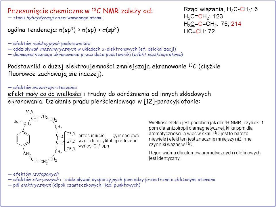Przesunięcie chemiczne w 13 C NMR zależy od: stanu hybrydyzacji obserwowanego atomu, ogólna tendencja: (sp 3 ) > (sp) > (sp 2 ) efektów indukcyjnych p