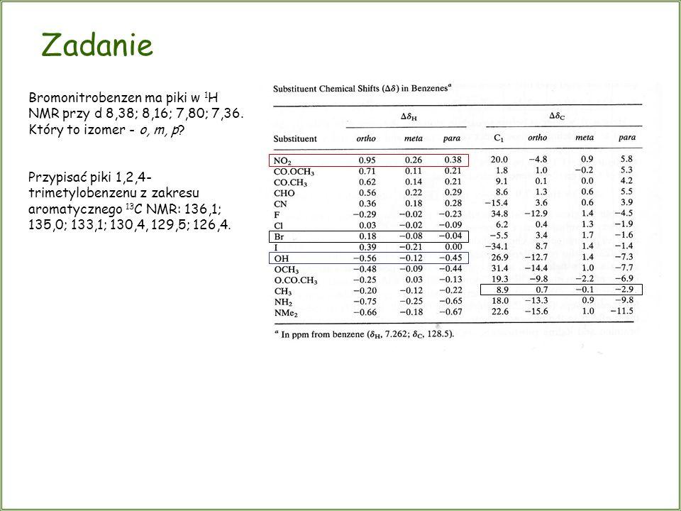 Bromonitrobenzen ma piki w 1 H NMR przy d 8,38; 8,16; 7,80; 7,36. Który to izomer - o, m, p? Przypisać piki 1,2,4- trimetylobenzenu z zakresu aromatyc