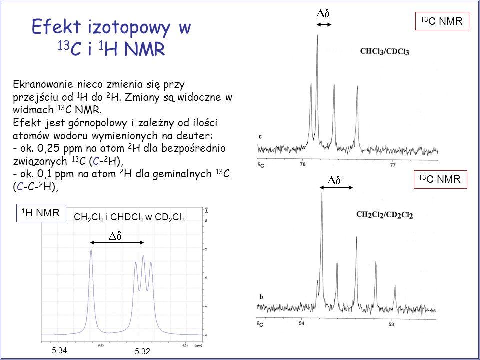 Efekt izotopowy w 13 C i 1 H NMR Ekranowanie nieco zmienia się przy przejściu od 1 H do 2 H. Zmiany są widoczne w widmach 13 C NMR. Efekt jest górnopo
