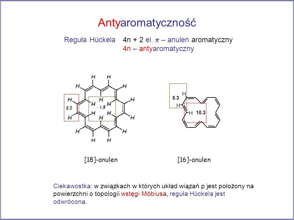 Antyaromatyczność [18]-anulen H H H [16]-anulen 10.3 5.3 Ciekawostka: w związkach w których układ wiązań p jest położony na powierzchni o topologii ws