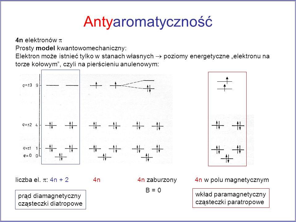 Antyaromatyczność 4n elektronów Prosty model kwantowomechaniczny: Elektron może istnieć tylko w stanach własnych poziomy energetyczne elektronu na tor