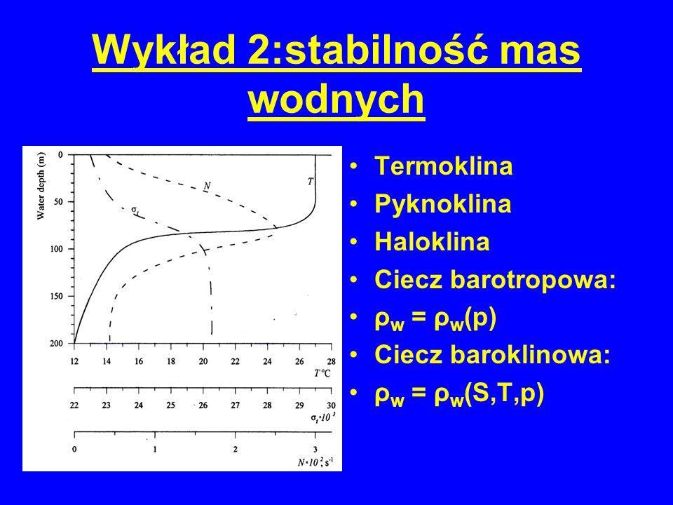 Termoklina Pyknoklina Haloklina Ciecz barotropowa: ρ w = ρ w (p) Ciecz baroklinowa: ρ w = ρ w (S,T,p)
