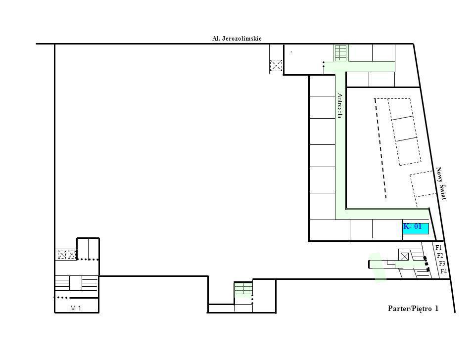 Parter/Piętro 1 Al. Jerozolimskie Nowy Świat Antresola. F1 F2 F3 F4 M 1 K- 01