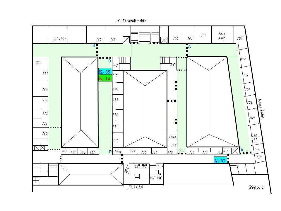 Piętro 1 WC E1,3,4,5,6 WC Al. Jerozolimskie Nowy Świat 140 Mag.