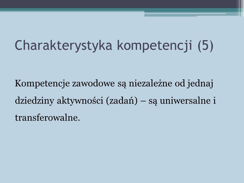 Charakterystyka kompetencji (5) Kompetencje zawodowe są niezależne od jednaj dziedziny aktywności (zadań) – są uniwersalne i transferowalne.