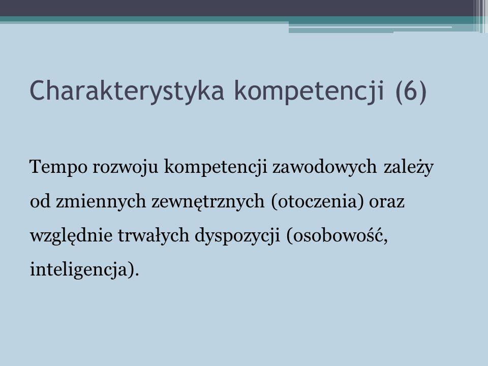 Charakterystyka kompetencji (6) Tempo rozwoju kompetencji zawodowych zależy od zmiennych zewnętrznych (otoczenia) oraz względnie trwałych dyspozycji (osobowość, inteligencja).