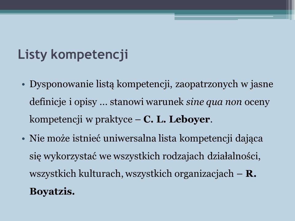 Listy kompetencji Dysponowanie listą kompetencji, zaopatrzonych w jasne definicje i opisy... stanowi warunek sine qua non oceny kompetencji w praktyce