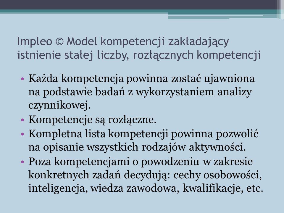 Impleo © Model kompetencji zakładający istnienie stałej liczby, rozłącznych kompetencji Każda kompetencja powinna zostać ujawniona na podstawie badań z wykorzystaniem analizy czynnikowej.
