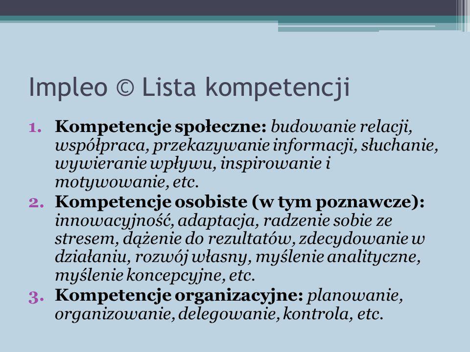 Impleo © Lista kompetencji 1.Kompetencje społeczne: budowanie relacji, współpraca, przekazywanie informacji, słuchanie, wywieranie wpływu, inspirowanie i motywowanie, etc.