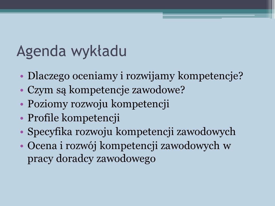 Agenda wykładu Dlaczego oceniamy i rozwijamy kompetencje? Czym są kompetencje zawodowe? Poziomy rozwoju kompetencji Profile kompetencji Specyfika rozw