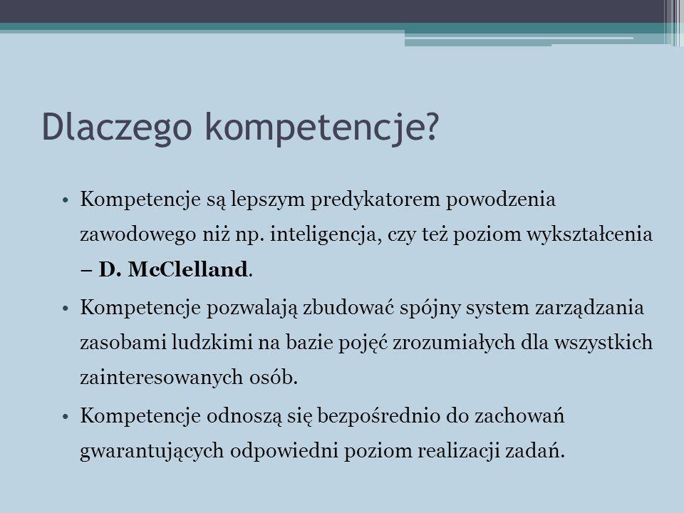 Dlaczego kompetencje? Kompetencje są lepszym predykatorem powodzenia zawodowego niż np. inteligencja, czy też poziom wykształcenia – D. McClelland. Ko