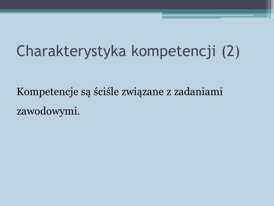 Charakterystyka kompetencji (2) Kompetencje są ściśle związane z zadaniami zawodowymi.