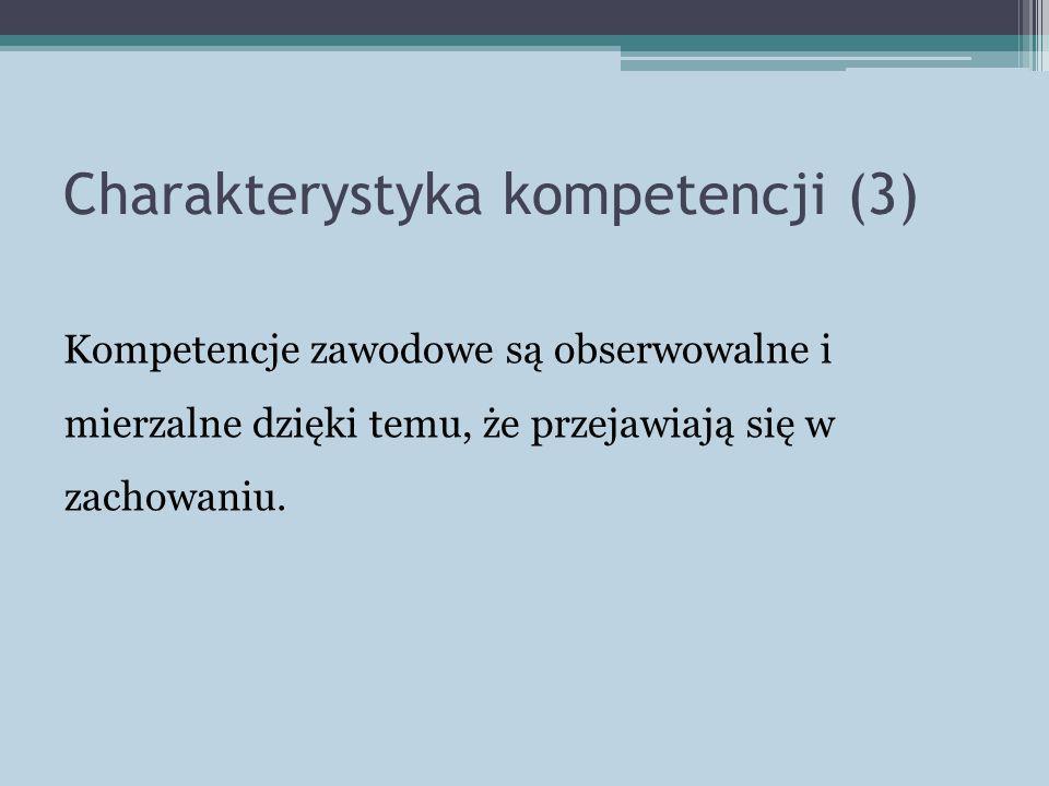 Charakterystyka kompetencji (3) Kompetencje zawodowe są obserwowalne i mierzalne dzięki temu, że przejawiają się w zachowaniu.