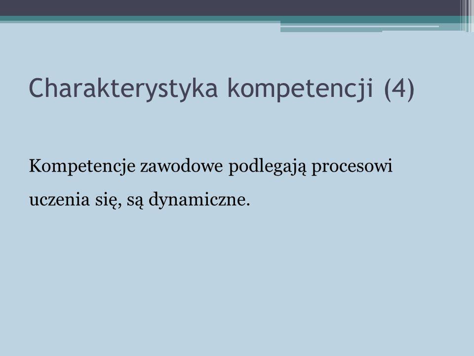 Charakterystyka kompetencji (4) Kompetencje zawodowe podlegają procesowi uczenia się, są dynamiczne.