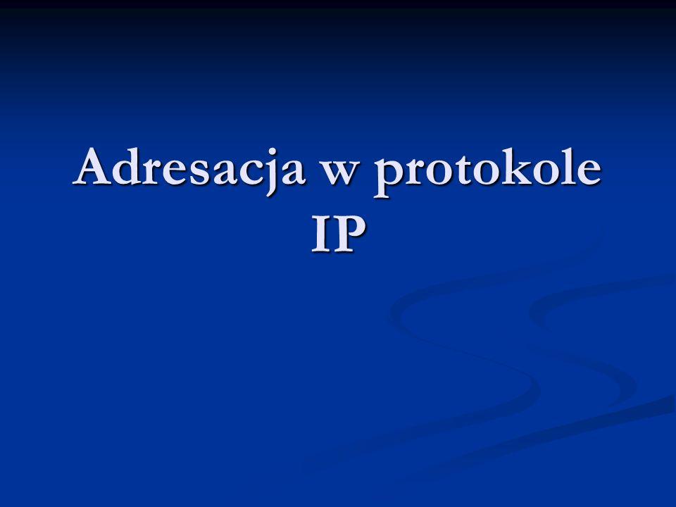Wyliczanie adresu podsieci - przykład 3 Adres źródłowy: 156.17.40.200/26 Adres źródłowy: 156.17.40.200/26 Adres docelowy: 156.17.40.3/26 Adres docelowy: 156.17.40.3/26 Maska /26 (255.255.255.192) oznacza zakresy podsieci Maska /26 (255.255.255.192) oznacza zakresy podsieci x.x.x.0- x.x.x.63 x.x.x.0- x.x.x.63 x.x.x.64- x.x.x.127 x.x.x.64- x.x.x.127 x.x.x.128- x.x.x.191 x.x.x.128- x.x.x.191 x.x.x.192- x.x.x.255 x.x.x.192- x.x.x.255 Ponieważ adres źródłowy jest w zakresie x.x.x.192- x.x.x.255, a adres docelowy w zakresie x.x.x.0- x.x.x.63, więc rozważane adresy nie należą do tej samej podsieci Ponieważ adres źródłowy jest w zakresie x.x.x.192- x.x.x.255, a adres docelowy w zakresie x.x.x.0- x.x.x.63, więc rozważane adresy nie należą do tej samej podsieci
