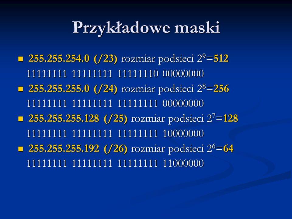 Przykładowe maski 255.255.254.0 (/23) rozmiar podsieci 2 9 =512 255.255.254.0 (/23) rozmiar podsieci 2 9 =512 11111111 11111111 11111110 00000000 1111