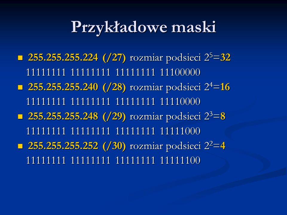 Przykładowe maski 255.255.255.224 (/27) rozmiar podsieci 2 5 =32 255.255.255.224 (/27) rozmiar podsieci 2 5 =32 11111111 11111111 11111111 11100000 11