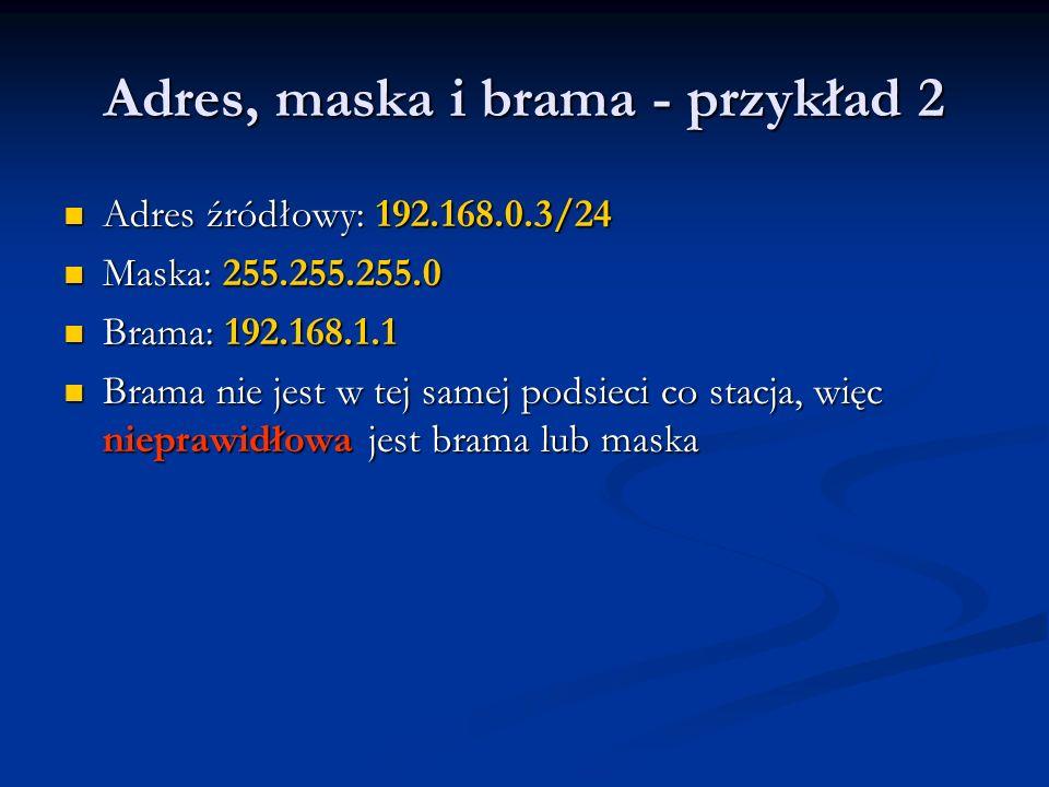 Adres, maska i brama - przykład 2 Adres źródłowy: 192.168.0.3/24 Adres źródłowy: 192.168.0.3/24 Maska: 255.255.255.0 Maska: 255.255.255.0 Brama: 192.1