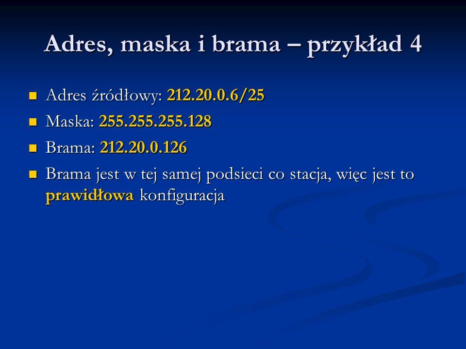 Adres, maska i brama – przykład 4 Adres źródłowy: 212.20.0.6/25 Adres źródłowy: 212.20.0.6/25 Maska: 255.255.255.128 Maska: 255.255.255.128 Brama: 212