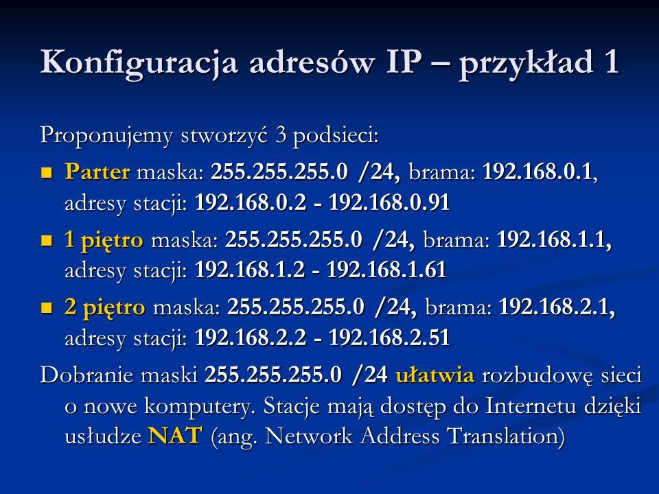 Konfiguracja adresów IP – przykład 1 Proponujemy stworzyć 3 podsieci: Parter maska: 255.255.255.0 /24, brama: 192.168.0.1, adresy stacji: 192.168.0.2
