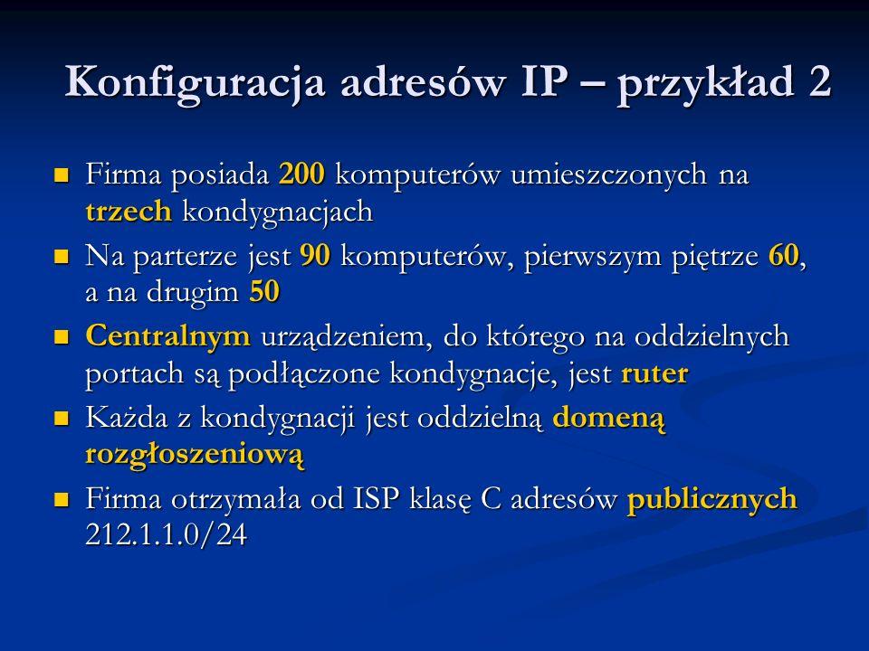Konfiguracja adresów IP – przykład 2 Firma posiada 200 komputerów umieszczonych na trzech kondygnacjach Firma posiada 200 komputerów umieszczonych na