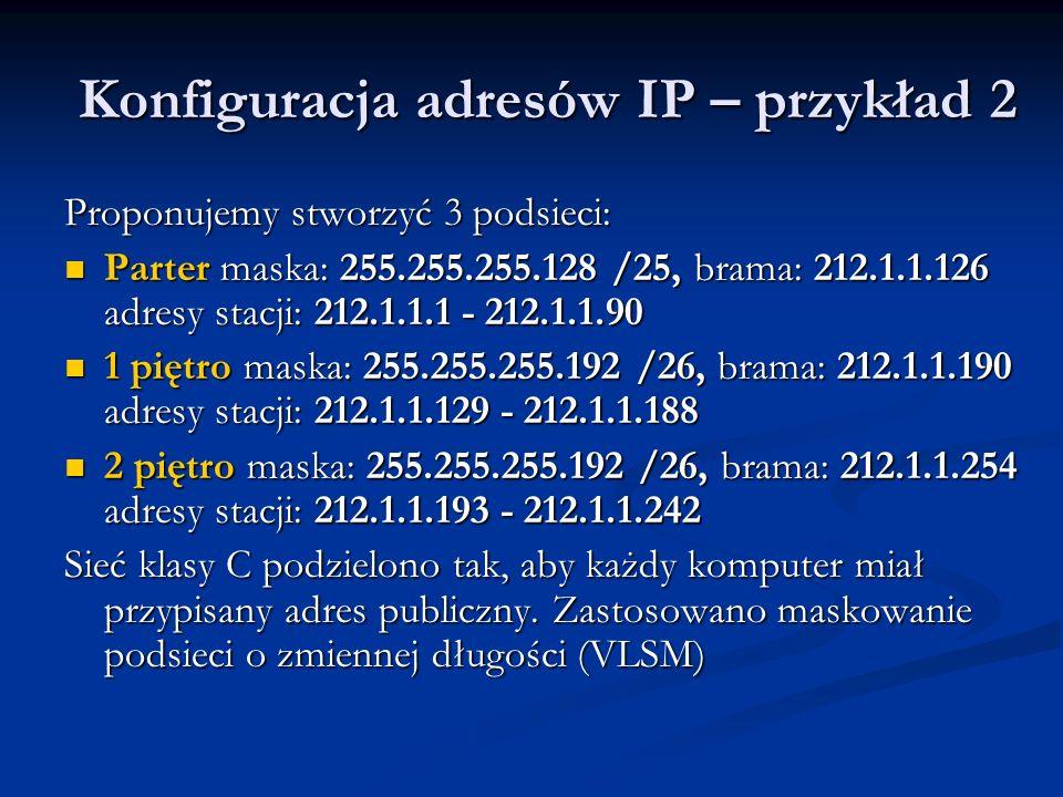 Konfiguracja adresów IP – przykład 2 Proponujemy stworzyć 3 podsieci: Parter maska: 255.255.255.128 /25, brama: 212.1.1.126 adresy stacji: 212.1.1.1 -