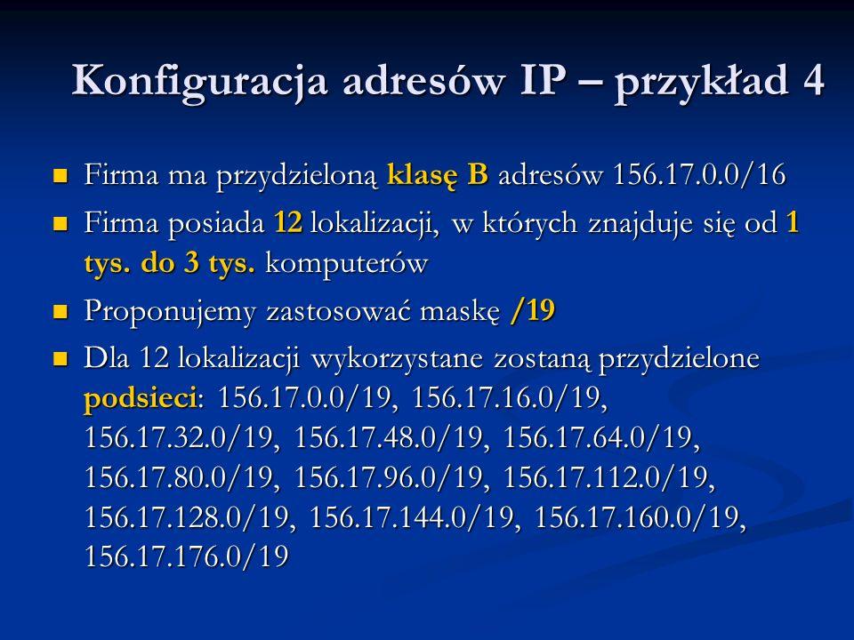 Konfiguracja adresów IP – przykład 4 Firma ma przydzieloną klasę B adresów 156.17.0.0/16 Firma ma przydzieloną klasę B adresów 156.17.0.0/16 Firma pos