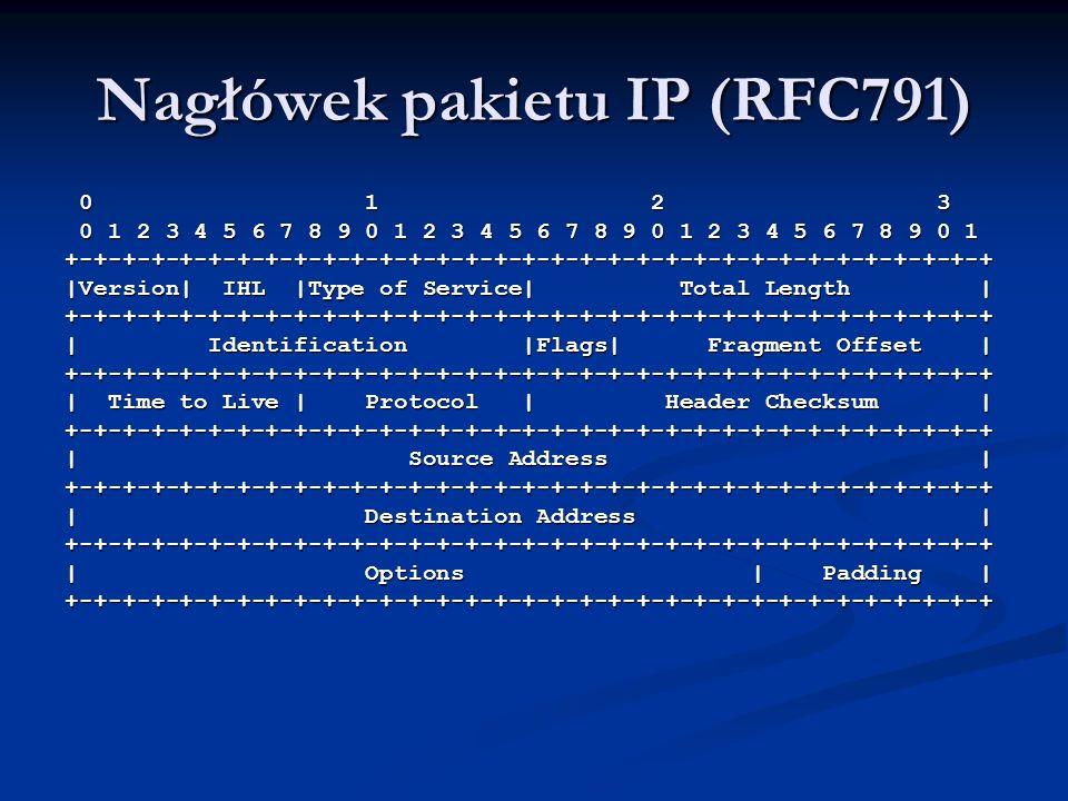 Nagłówek pakietu IP (RFC791) 0 1 2 3 0 1 2 3 0 1 2 3 4 5 6 7 8 9 0 1 2 3 4 5 6 7 8 9 0 1 2 3 4 5 6 7 8 9 0 1 0 1 2 3 4 5 6 7 8 9 0 1 2 3 4 5 6 7 8 9 0