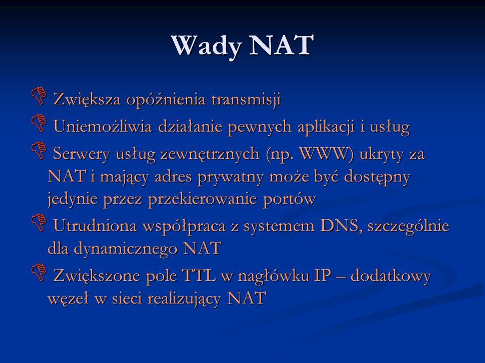 Wady NAT Zwiększa opóźnienia transmisji Zwiększa opóźnienia transmisji Uniemożliwia działanie pewnych aplikacji i usług Uniemożliwia działanie pewnych