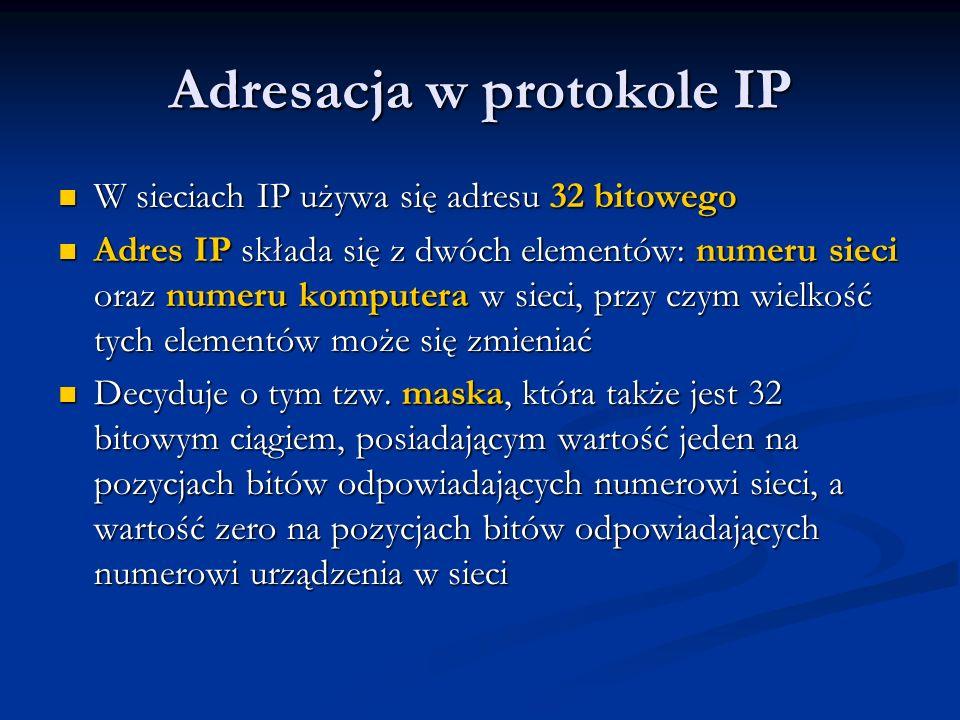 Konfiguracja adresów IP – przykład 2 Firma posiada 200 komputerów umieszczonych na trzech kondygnacjach Firma posiada 200 komputerów umieszczonych na trzech kondygnacjach Na parterze jest 90 komputerów, pierwszym piętrze 60, a na drugim 50 Na parterze jest 90 komputerów, pierwszym piętrze 60, a na drugim 50 Centralnym urządzeniem, do którego na oddzielnych portach są podłączone kondygnacje, jest ruter Centralnym urządzeniem, do którego na oddzielnych portach są podłączone kondygnacje, jest ruter Każda z kondygnacji jest oddzielną domeną rozgłoszeniową Każda z kondygnacji jest oddzielną domeną rozgłoszeniową Firma otrzymała od ISP klasę C adresów publicznych 212.1.1.0/24 Firma otrzymała od ISP klasę C adresów publicznych 212.1.1.0/24