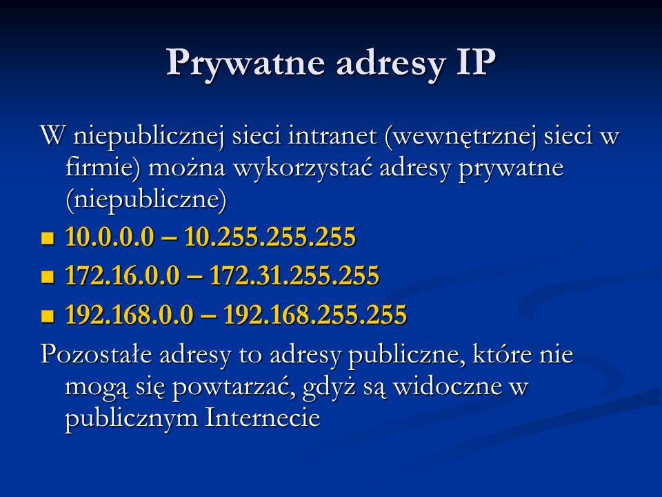 Adres podsieci Pierwszy adres z zakresu wyznaczonego przez adres urządzenia i maskę to adres podsieci Pierwszy adres z zakresu wyznaczonego przez adres urządzenia i maskę to adres podsieci Jest to adres mający bity równe 0 na tych samych pozycjach co maska Jest to adres mający bity równe 0 na tych samych pozycjach co maska Na pozostałych bitach adres podsieci ma takie same wartości co adres urządzenia Na pozostałych bitach adres podsieci ma takie same wartości co adres urządzenia Adres sieci nie może być przydzielony dla urządzenia Adres sieci nie może być przydzielony dla urządzenia
