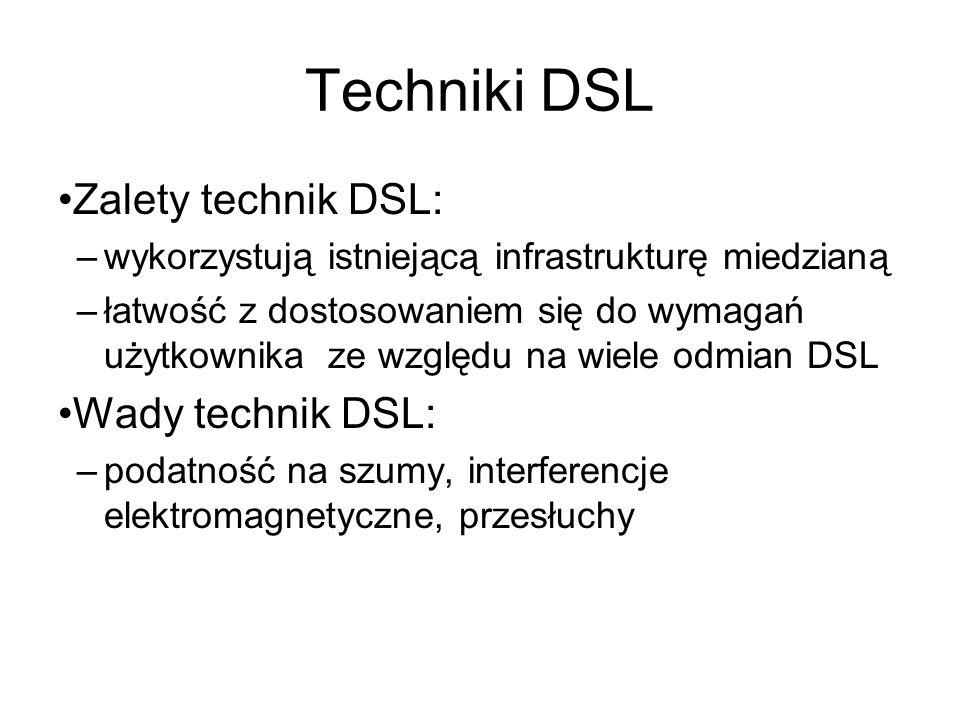 Techniki DSL Zalety technik DSL: –wykorzystują istniejącą infrastrukturę miedzianą –łatwość z dostosowaniem się do wymagań użytkownika ze względu na w